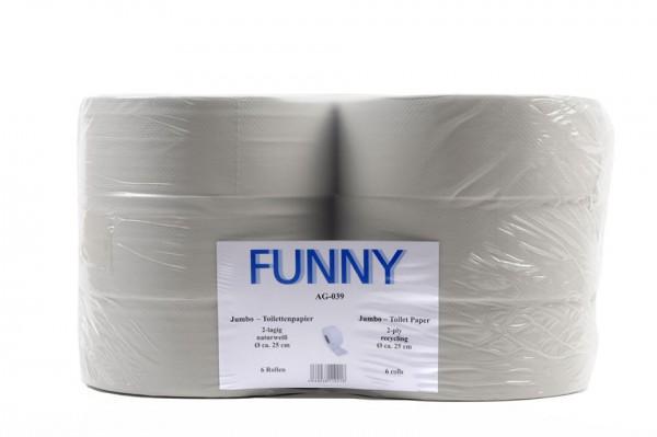 Recycling Jumbo Toilettenpapier Funny, 2-lagig, grau