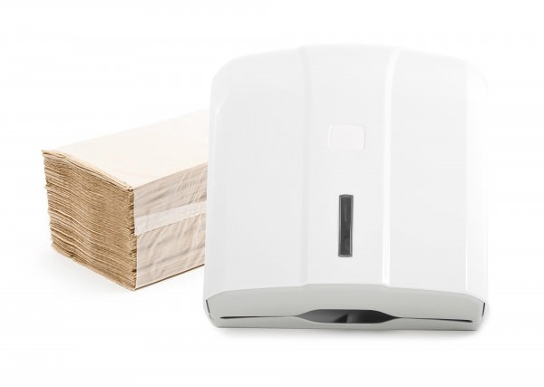 Falthandtuchspender-SET mit 5000 Blatt Recycling